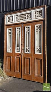 Sale 8390 - Lot 1338C - Large Timber Door with Iron Insert Windows & Transoms (296 x 197cm)