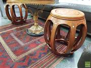 Sale 8424 - Lot 1059 - Pair of Chinese Inlaid Drum Stools