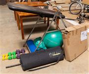 Sale 8677A - Lot 83 - A quantity of exercise equipment, including adjustable bench, weights, a box jump, etc
