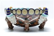 Sale 8869 - Lot 4 - Wedgwood Majolica Punch And Toby Punch Bowl, c.1880 (Hairline Crack To Inside)