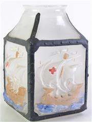 Sale 8963 - Lot 93 - Vintage style ship themed glass lantern (H25cm)