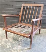Sale 9002 - Lot 1080 - Mid Century Timber Armchair Frame Made In Japan (h:75 x w:69 x d:76cm)