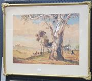 Sale 9019 - Lot 2025 - H Martin, landscape with Horse drawn, watercolour, 58 x 71 cm, signed lower right