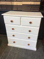 Sale 9034 - Lot 1100 - White painted Chest of 5 Drawers (H:99 W:90 D:45cm)