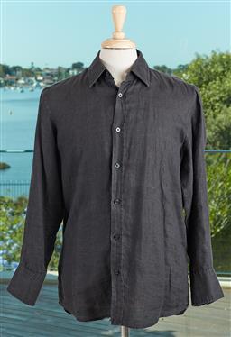 Sale 9120K - Lot 92 - A Hugo Boss black linen button up shirt; of regular fit. Size M