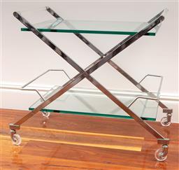 Sale 9134H - Lot 36 - A chrome and glass X frame shelved bar cart Height 67cm x Width 77cm x Depth 48cm