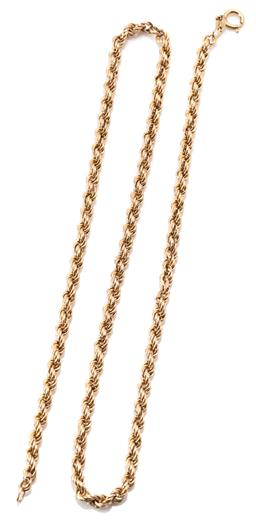 Sale 9160 - Lot 400 - A 9CT GOLD ROPE CHAIN; 4mm wide rope twist chain to bolt ring clasp, length 52cm, wt. 8.5g.