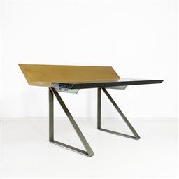 Sale 9252AD - Lot 5020 - GIOVANNI OFFREDI SAPORITI DESK FOR SAPORITI ITALIA, 1970s: gradated ash wood top supported by brush steel legs, with hidden pencil c...