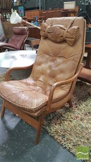 Sale 8383 - Lot 1084 - Leather Armchair in Timber Frame