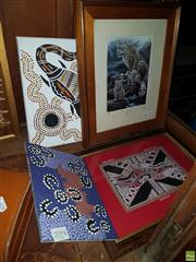 Sale 8573 - Lot 2094 - Collection of Aboriginal Art Works Goanna Dreaming and Dot Painting with Framed Example