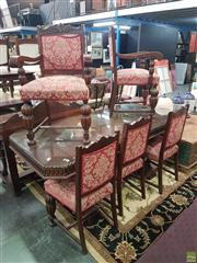 Sale 8593 - Lot 1058 - Six Piece Dining Suite Inc Table and 5 Chairs (77 x 187 x 90cm)