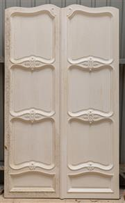 Sale 8677A - Lot 84 - A pair of French internal doors painted white, each of four panels, H 238 x W 140cm (combined)