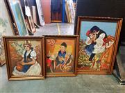 Sale 8668 - Lot 2042 - 3 Ornately Framed Tapestries