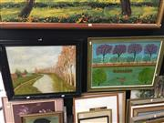 Sale 8674 - Lot 2058 - 2 Works: Framed Oil Paintings of Landscape Scenes