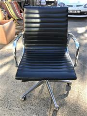 Sale 8787 - Lot 1085 - Eames Style Black Leather Gaslift Office Chair