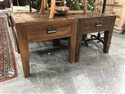 Sale 8896 - Lot 1083 - Pair of Brown Oak Lamp Tables with Single Drawer
