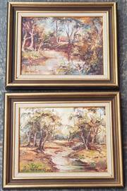 Sale 9019 - Lot 2096 - Ian Vincent (2 works)  Evening Sunset & Reflections, oil on canavs board, frame: 32 x 41 each, signed lower left