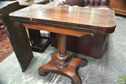 Sale 8317 - Lot 1032 - Early 19th Century Rosewood Card Table, with inverted tapering pedestal & quadraform base (some veneer loss)