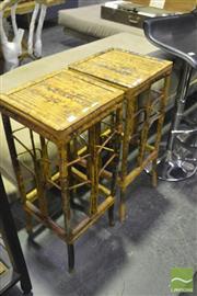Sale 8341 - Lot 1016 - Pair of Split Cane Plant Stands