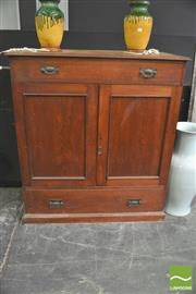 Sale 8406 - Lot 1003 - Oak Two Door Fitted Robe