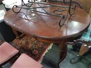 Sale 8657 - Lot 1052 - Round Oak Extension Dining Table with 2 Leaves (winder in office)