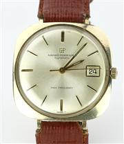 Sale 8664 - Lot 377 - A VINTAGE GIRARD - PERREGAUX GYROMATIC WRISTWATCH; cushion form case, sunburst dial, applied markers, centre seconds, 10k gold fille...