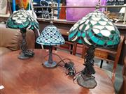 Sale 8744 - Lot 1088 - Pair of Leadlight Shade Table Lamps and Another
