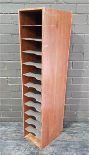 Sale 8962 - Lot 1011 - Vintage Timber Filing Unit (H:120 x W:25 x D:35cm)