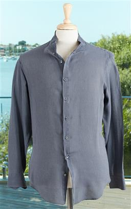 Sale 9120K - Lot 93 - A Giorgio Armani lightweight silk and cotton button up long sleeve shirt; size mens ITA39
