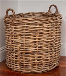 Sale 9134H - Lot 35 - An oversize woven cane twin handled basket height 68cm x Diameter 78cm