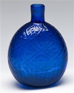 Sale 9173 - Lot 31 - A blue art glass vase signed MMA (H:15cm)
