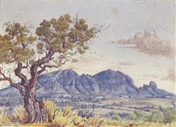 Sale 9195 - Lot 544 - ALBERT NAMATJIRA (1920 - 1959) - Mount Sonder & Cork Trees 27.5 x 37.5 cm (frame: 51 x 61 x 3 cm)