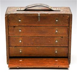 Sale 9246 - Lot 22 - A vintage timber travellers watch makers three drawer case (H:28cm W:35cm D:13cm)