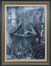 Sale 8486A - Lot 49 - Tibor Binder - Nina Reading 74 x 54cm