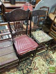 Sale 8532 - Lot 1077 - Pair of Heavily Carved Dining Chairs