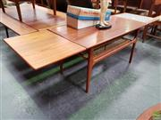 Sale 8607 - Lot 1036 - Superb Quality Danish Teak Extendable Coffee Table with Rattan Shelf (H: 54 W: 183 Extended D: 54cm)