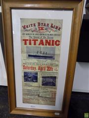 Sale 8557 - Lot 2079 - Titanic Advertisement Print