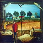Sale 8607A - Lot 5002 - Kevin Charles Pro Hart (1928 - 2006) - The Wool Shed 30 x 30cm