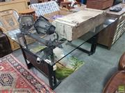 Sale 8620 - Lot 1038 - Glass Top Dining Table with Harley Handle Bars & Muffler to Base (H: 80 L: 180 W: 118cm)