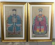 Sale 8649R - Lot 31 - Antique Chinese Ancestral Hand Painted Works (Glass missing on one) (151 x 98cm)