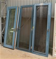 Sale 8677A - Lot 86 - A set of six matching doors, three with glass panels and three with fly screen panels, each H 232 x W 76 x D 4cm