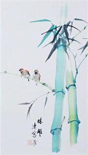 Sale 8755A - Lot 5059 - Chinese School (XX) - Sparrows on Bamboo 58 x 33.5cm