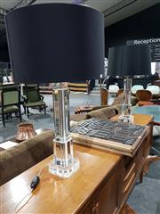 Sale 8765 - Lot 1045 - Pair of Large Contemporary Glass Table Lamps, of stepped form with black shades