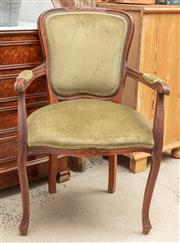 Sale 9060H - Lot 57 - A French pair of bergères with carved timber frames and olive velvet upholstery. Height 92
