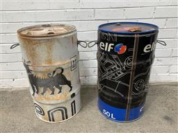 Sale 9101 - Lot 2105 - Pair of vintage Elf and ENI oil cans (H:63 D:36cm)