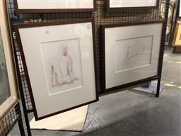 Sale 9147 - Lot 2052 - Peter Hickey Nude Study I & II 60 x 46cm; 49 x 59cm (frames) signed -