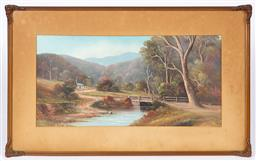 Sale 9170H - Lot 93 - Charles (Chas) Young, oil on board, house in forest, SLL, 27cm x 55cm