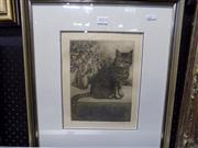 Sale 8437 - Lot 2053 - Signed Etching of a Cat