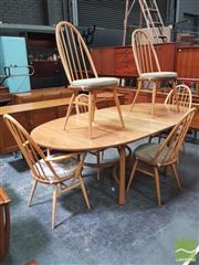 Sale 8435 - Lot 1083 - Superb Ercol Table and Set of Six Chairs (4 and 2 carvers)