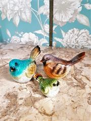 Sale 8500A - Lot 72 - A handpainted ceramic birds trio - Condition: As New - Measurements: small bird 6cm wide x9cm high - large birds 13cm wide x 9cm hig...